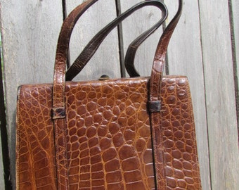 wonderful Chocolate leather Croc Crocodile Handbag VLV Purse bag 1930's 1940's
