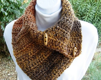 Gold Yellow Dark Brown Caramel Orange Striped NECK WARMER Scarf, Wood Toggle Buttons, OOAK Soft Crochet Winter Buttoned Cowl..Ready to Ship
