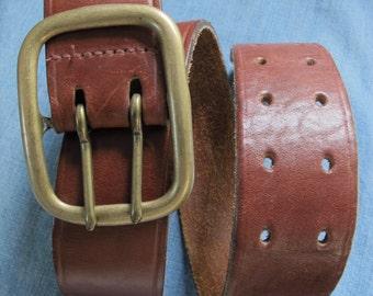 Wide Leather Belt Cognac Leather Belt Men's Size 34 Belt Chestnut Brown Wide Belt Double Hole Made in USA for Gap