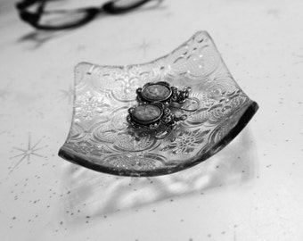 Jewelry Dish with Clear Textured Architectural Glass