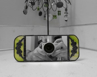 Stained Glass Vanity Mirror in Green w Floral Overlay
