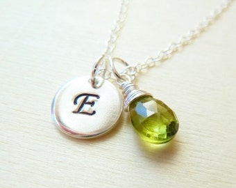 SALE Personalized Initial Birthstone Necklace. Any 1 birthstone Charm.Gold or Silver.Green Peridot necklace. August birthstone necklace. Leo