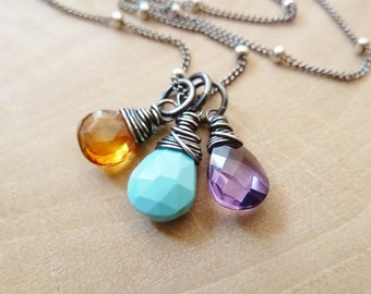 Any 3 Birthstone necklace. Gold or Silver. Personalized. Birthstone jewelry gift. Pendant. Charm. Citrine Turquoise Amethyst Oxidized. Gift