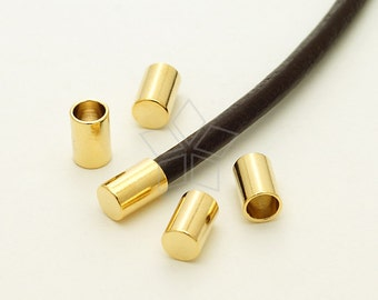 FE-024-GD / 10 Pcs - Cord End Caps (without Loop) for 3mm Leather, Cord Terminators, 16K Gold Plated over Brass / 3.2mm inside diameter