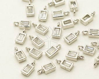 AC-564-OR / 6 Pcs - Rectangular CZ Pendant, Double Bail Pendant (Mini Size), Silver Plated over ...