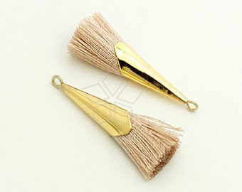 TA-056-GD / 2 pcs - Simple Long Cap Tassel Pendant (Ivory), Handmade Small Cotton Tassels, with Gold Plated Brass Ring / 33mm