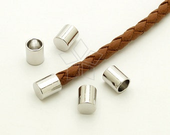 FE-031-OR / 10 Pcs - Cord End Caps (without Loop) for 4mm Leather, Cord Terminators, Silver Plated over Brass / 4.2mm inside diameter