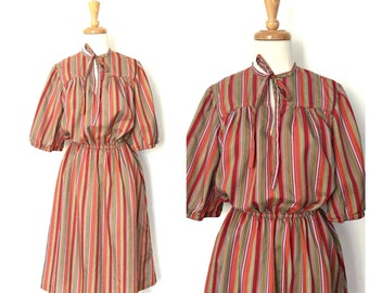 1970s Dress - striped dress - blouson - pullover - disco dress - knee length - pussybow - Medium