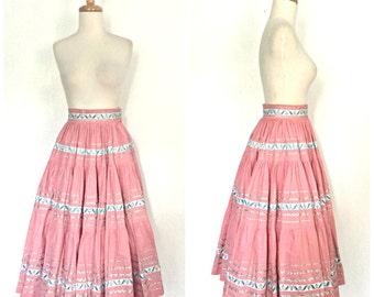 Vintage Mexican Skirt - 50s skirt - full skirt - tiered rockabilly skirt - cotton skirt - XS - Small