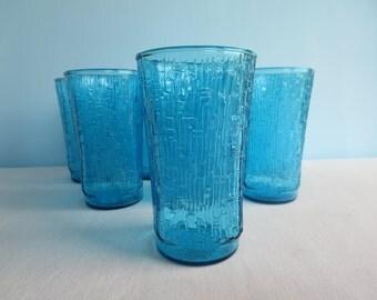 Vintage Blue Drinking Glasses - Anchor Hocking Pagoda Laser Blue Glasses/Tumblers