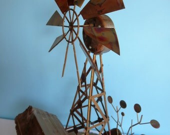 Vintage Metal Art Windmill Music Box/Sculpture - Copper Toned Metal Sculpture