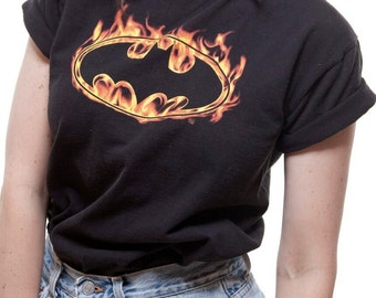 Batman on Fire T Shirt Womens Small