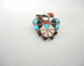 Vintage Zuni Native American Thunderbird  Brooch Pendant