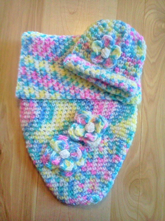 Crocheted multi color flower baby cocoon
