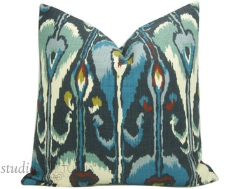 Ikat Pillow -  Decorative Pillow Cover - 20 inch - blues and rust - earth tones -  ready to ship