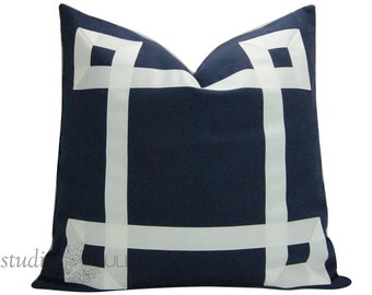 Blue and White Pillow - Designer Pillow Cover - PICK YOUR SIZE - Ribbon Pillow - Greek Key - fretwork - euro sham - made to order