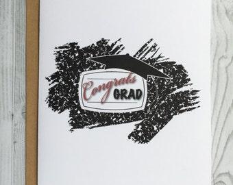 Congrats Grad Graduation Card, Invitation, Blank Card, Greeting Card, All Occasion Card, Graduation Card