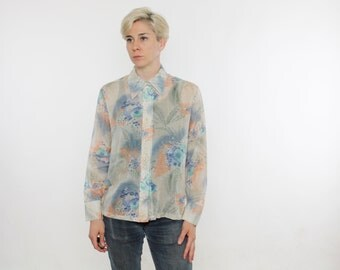 Vintage 70's sheer women's button down shirt, abstract floral pattern, poly / cotton, blue / beige / orange / turquoise - Medium