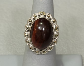 Art Deco UNCAS Sterling Silver Ring, Cats Eye Marcasite Antique Vintage 1930s Ring