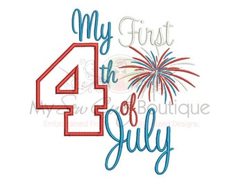 My 1st 4th of July Applique Design - Machine Embroidery Applique Design - 8 Sizes - Instant Download