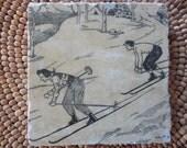 Marble Stone Coaster - Vintage Ski - Rustic - Drink Tile - Ski Decor - Ski - Lodge - Alpine - Cabin - Coaster