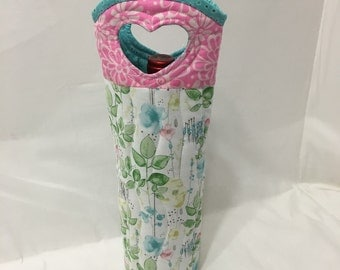 Floral Wine Bag Gift Tote Bag Fabric Wine Bag Handmade in USA