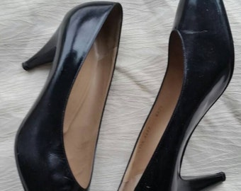 "80s Vintage Bruno Magli black patent leather pointed toe 3.5"" heel pumps shoes 10.5 B"