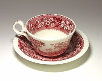 Vintage Spode Copeland Pink Tower Cup and Saucer - circa 1950's