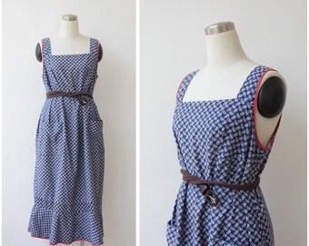1960s Vintage Paisley Print Dress Plus size Sleeveless Tent Dress Summer Cotton Dress Blue White Prairie Dress XL XXL