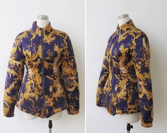 Free Shipping. 1980s Jacket S M, Baroque Chain Print Glam Zippered Padded Coat Jacket