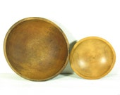 Vintage Wood Bowls, Small Wooden Bowl, Large Wood Bowl - both sold together at a discount