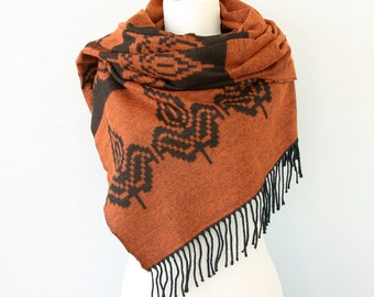 Burnt orange blanket scarf Boho chic shawl Tribal native Aztec Autumn fall  scarf Winter wrap large hippie scarf orange black halloween