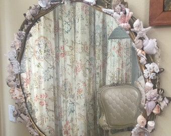 Fabulous! Antique French Gilt Mirror with Custom Grotto Shell Art