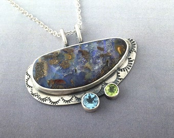 Natural Boulder Opal, Peridot and Blue Topaz Sterling Silver Pendant, One of a Kind, ready to ship.