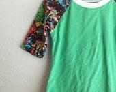 Girls - Avengers Sleeve Green Raglan, sizes 6-16