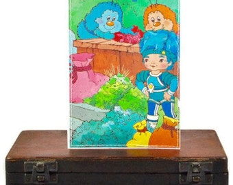 RAINBOW BRITE blank greeting CARD repurposed upcycled Little Golden Book party children birthday Shy Violet cartoon