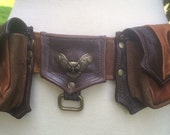 Original leather BURNER/POCKET BELT in browns with owl and four pockets