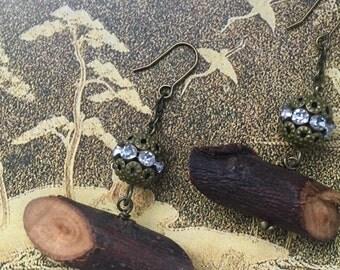 Scented Plumwood Earring with rhinestone charm