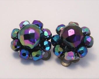 Vintage earrings. Carnival glass earrings. Clip on earrings. Bead earrings
