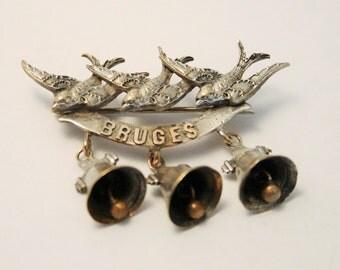 Vintage sweetheart brooch. Bruges brooch. World War I brooch
