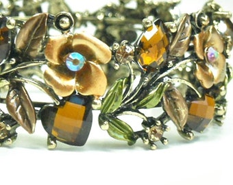 CIJ  Vintage 1970s Hinged Cuff Bracelet, Wide Brown Rhinestone Cuff, Roses, Hearts, Leaves, Flowers, Valentine, Mothers Day, Neutral, Topaz