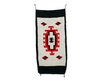 """vintage 43"""" x 20""""  southwestern navajo style weaving wool geometric red black rug tapestry"""