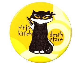 Ninja Kitty Magnet or Button -K15