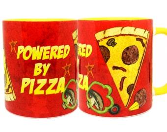 Powered by Pizza Yellow Mug