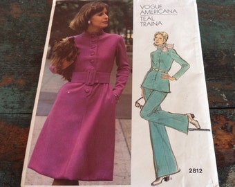 1970s Vogue Americana Dress, Tunic and Pants, Size 18 by Designer Teal Traina