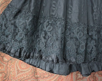 Antique Edwardian Long Black Skirt Petticoat with Lace Ruffles