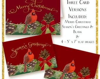 Christmas Cards Digital Merry Christmas Red Cardinal Bird w Pine Cones and Pine Needle Boughs gold glitter ribbon pair of Cardinals