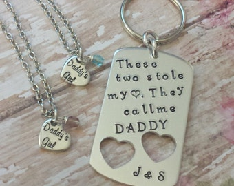 These Two Stole My Heart w/ Initials Under Hearts on Dog Tag / Heart Pendant for Daughters with Daddy's Military Boot Prints