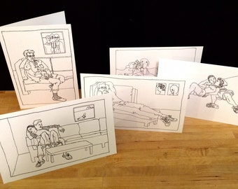 Figurative line drawings- Set of 5 cards