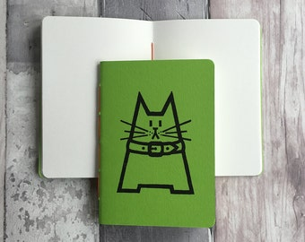 Small blank green journal featuring Dave the cat - hand-printed, hand-stitched A6 pocket sized notebook